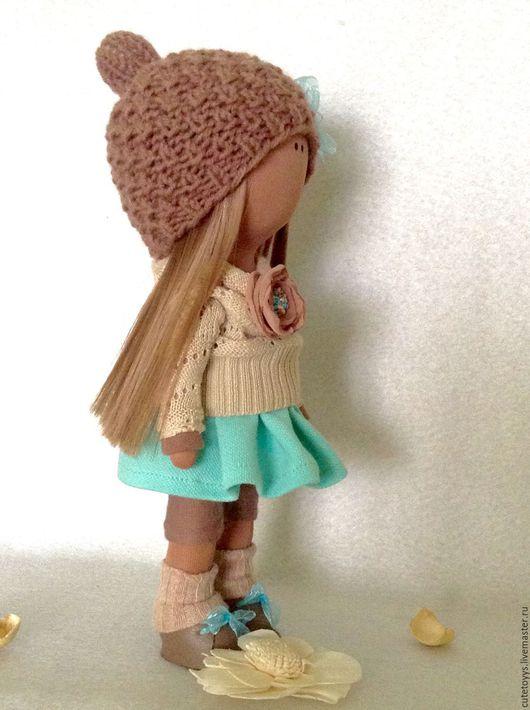 Куклы тыквоголовки ручной работы. Ярмарка Мастеров - ручная работа. Купить Интерьерная кукла в бирюзовой юбочке. Handmade. Бирюзовый, кукла