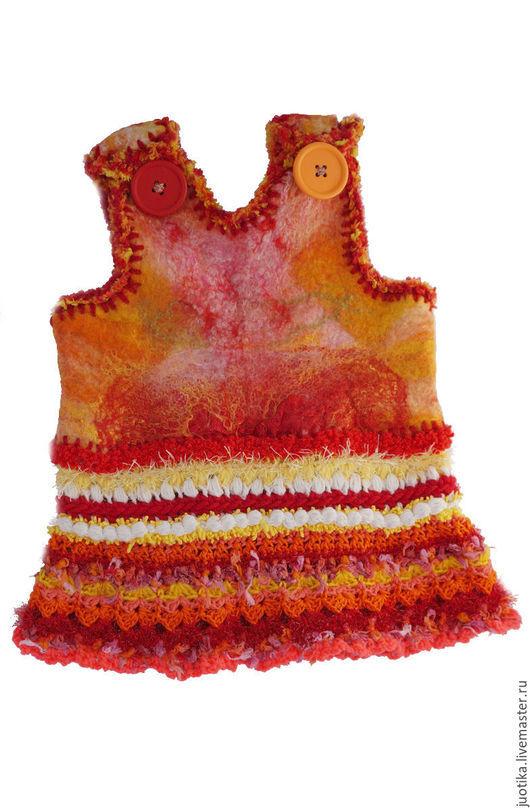 Одежда для девочек, ручной работы. Ярмарка Мастеров - ручная работа. Купить Детское теплое платье. Детское платье. Войлочное платье Зимняя зорька. Handmade.