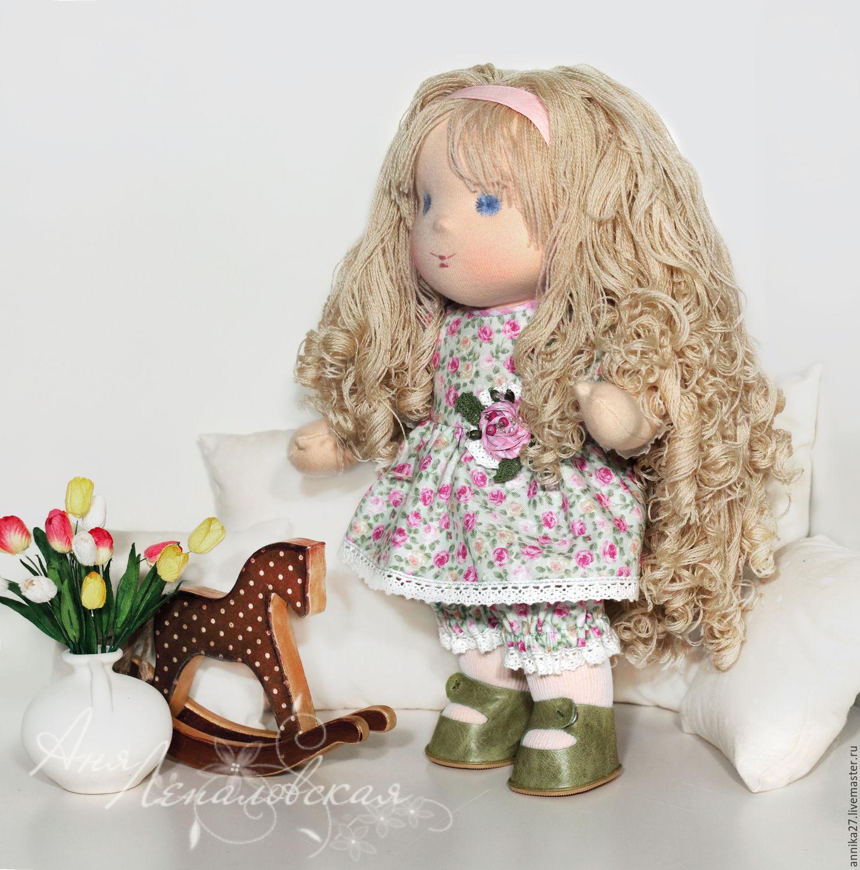Купить Диана - вальдорфская кукла, вальдорфская игрушка, тёмно-синий, букле юар, праздничная игрушка