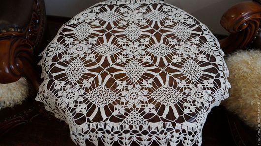 Текстиль, ковры ручной работы. Ярмарка Мастеров - ручная работа. Купить Скатерть из мотивов. Handmade. Бежевый, вязаная салфетка