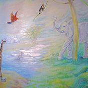 Картины и панно ручной работы. Ярмарка Мастеров - ручная работа Джунгли-роспись в детской. Handmade.