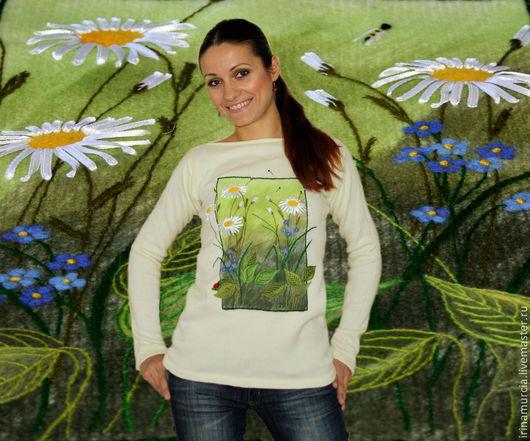 """Кофты и свитера ручной работы. Ярмарка Мастеров - ручная работа. Купить Кофта """"Полевые цветы 3D"""". Handmade. Белый"""