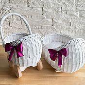 "Куклы и игрушки handmade. Livemaster - original item Copy of Плетёная коляска для куклы ""Боня"" белая. Handmade."