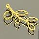 Подвеска коннектор из латуни Веточка с листьями с покрытием имитирующим золото для использования в сборке украшений, сережек и колье