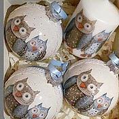"""Подарки к праздникам ручной работы. Ярмарка Мастеров - ручная работа Новогодний набор """"Совята"""" (3 шарика + свеча). Handmade."""