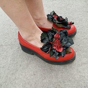 Украшения ручной работы. Ярмарка Мастеров - ручная работа Клипсы для обуви из кожи Алчары. Handmade.
