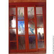 """Для дома и интерьера ручной работы. Ярмарка Мастеров - ручная работа витраж """"Голубые цветы"""" в межкомнатную перегородку. Handmade."""
