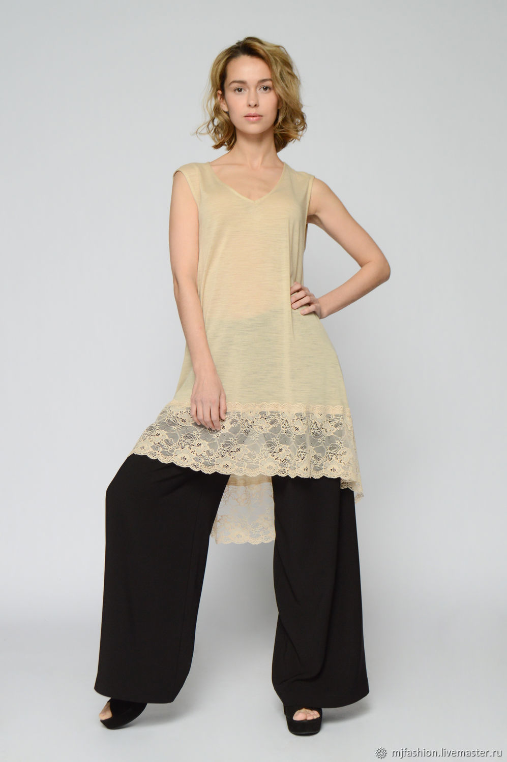 The blouse is of beige wool with lace (art. 3956), Blouses, Omsk,  Фото №1