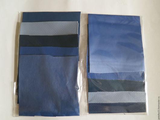 Другие виды рукоделия ручной работы. Ярмарка Мастеров - ручная работа. Купить НАБОР небольшие  листы экокожи № 8 серо-синие оттенки. Handmade.