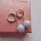 Украшения handmade. Livemaster - original item Earrings made of sapphirine (blue agate), rock crystal and 925 silver. Handmade.