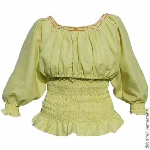 Блуза для кормления с вышитым орнаментом желто-бежевая