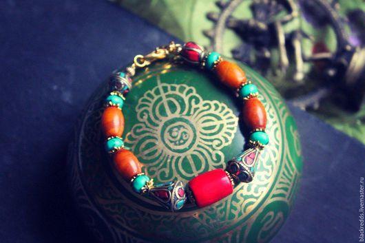 """Браслеты ручной работы. Ярмарка Мастеров - ручная работа. Купить Браслет """" Древний Тибет"""" тибетские бусины, бирюза, коралл, нефрит. Handmade."""