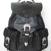 "Сумки и аксессуары handmade. Livemaster - original item Men`s western leather backpack ""Man in Black"". Handmade."