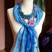 Аксессуары handmade. Livemaster - original item Blue lagoon - felted scarf chiffon/ wool. Handmade.