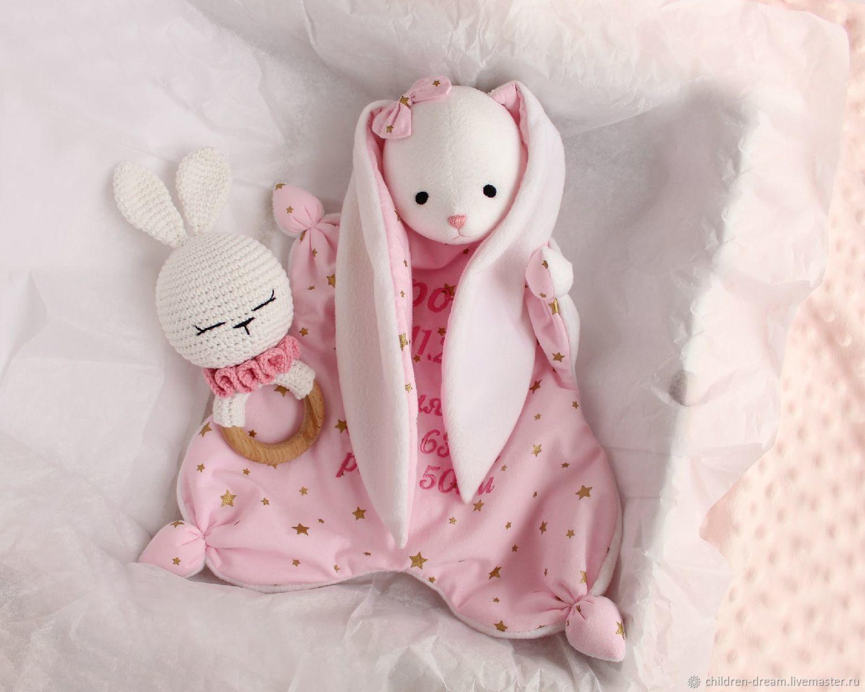 Набор: Игрушка для сна Комфортер и погремушка- грызунок, Подарок новорожденному, Клин,  Фото №1