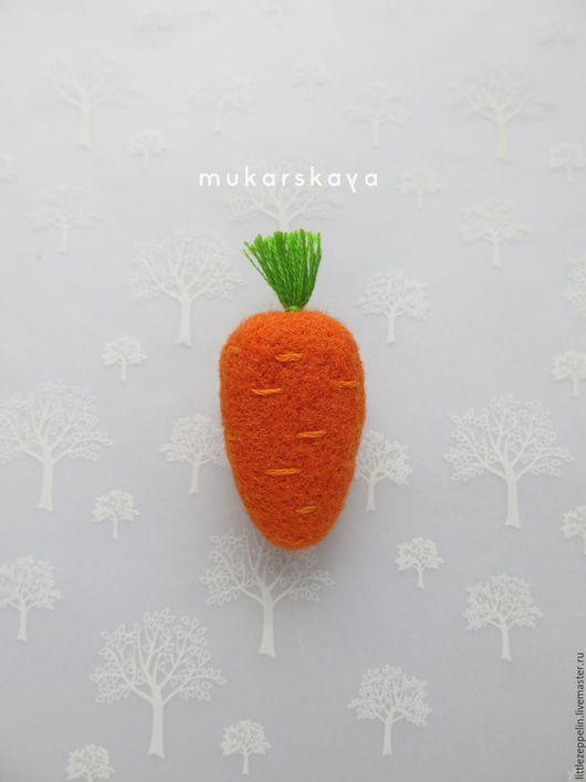 Броши ручной работы. Ярмарка Мастеров - ручная работа. Купить Морковка. Handmade. Брошка, рыжий, корнеплод, фетр