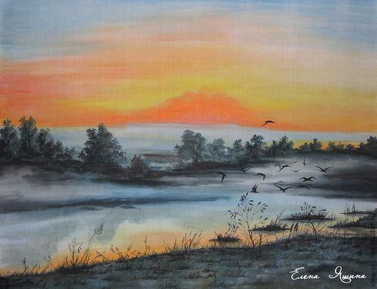 """Пейзаж ручной работы. Ярмарка Мастеров - ручная работа. Купить картина """"Утро туманное"""". Handmade. Батик, утро, картина, оранжевый"""