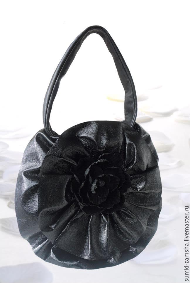 """Сумка кожаная """"Бутон"""". Черная, лаковая сумка-цветок, Сумки, Липецк, Фото №1"""
