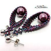 "Украшения handmade. Livemaster - original item Purple peyote teardrop earrings with Swarovski pearls ""Lisa"". Handmade."