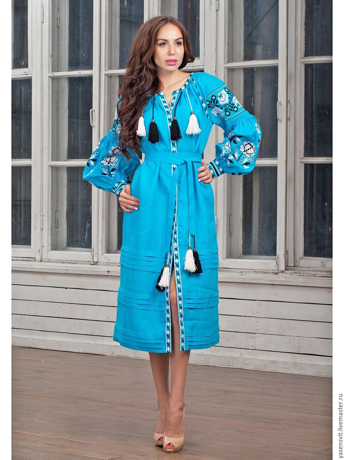 Linen boho dress. Turquoise Embroidered dress.Embroidery – shop ...