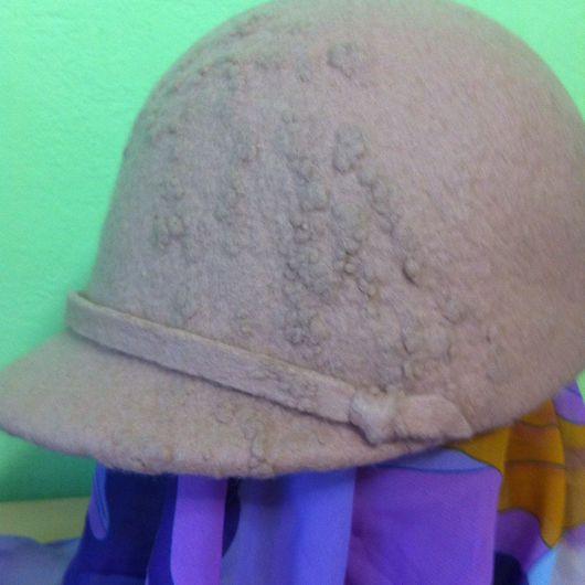 Кепки ручной работы. Ярмарка Мастеров - ручная работа. Купить Валяная шапочка-каскетка. Handmade. Бледно-розовый, каскетка
