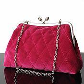 Сумки и аксессуары handmade. Livemaster - original item A velvet purse, evening bag, fuchsia, bag clasp. Handmade.