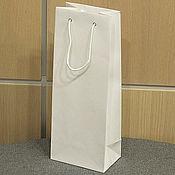 Пакеты ручной работы. Ярмарка Мастеров - ручная работа 12х35х9 - пакет бумажный под бутылку белый с ручками веревочными. Handmade.