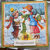 Открытки ручной работы. Ярмарка Мастеров - ручная работа Открытка Снеговик и дети. Handmade.