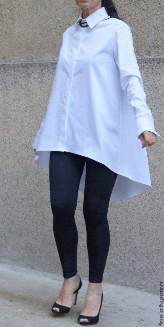 Блузки ручной работы. Ярмарка Мастеров - ручная работа. Купить Повседневная белая рубашка/Ассиметричная рубашка/F1496. Handmade. Белый, блузка, эластан