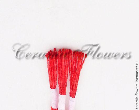 Материалы для флористики ручной работы. Ярмарка Мастеров - ручная работа. Купить Тычинки красные на красной нити, мелкие, тайланд. Handmade.