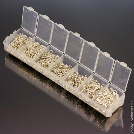 Колечки соединительные разрезные от 3 мм до 8 мм в пластиковом боксе\r\nЦвет покрытия светлое серебро