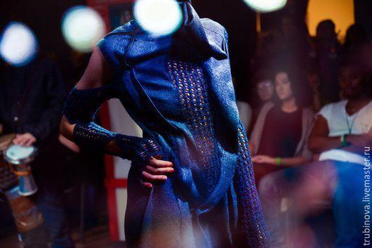 """Платья ручной работы. Ярмарка Мастеров - ручная работа. Купить Платье """"Мореаморе"""". Handmade. Тёмно-синий, шелк, кардочес"""