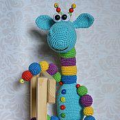 Куклы и игрушки handmade. Livemaster - original item Giraffe Is blue with a beaded toy crochet. Handmade.