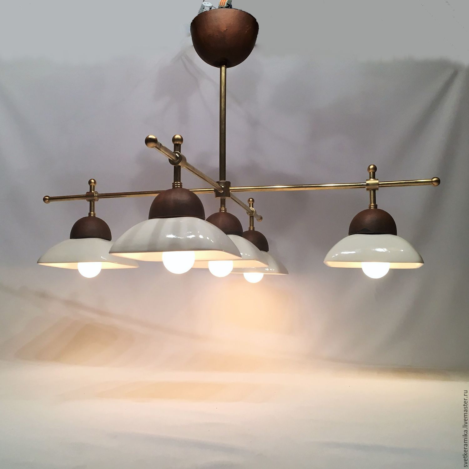 Ceramic chandelier with five shades and brass frame shop online on ceramic chandelier with five shades and brass frame arubaitofo Image collections