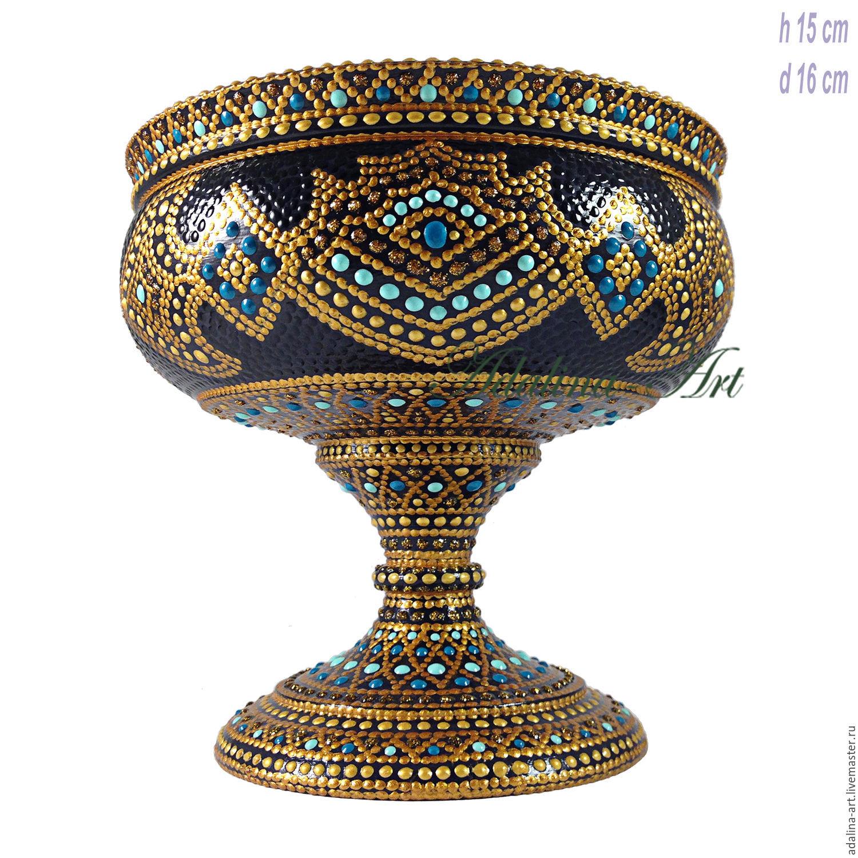 Конфетница АРМАН ваза кубок Точечная роспись