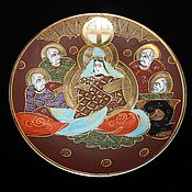 Винтаж handmade. Livemaster - original item Antique plate, hand-painted in the style of Moriage, Satsuma. Handmade.