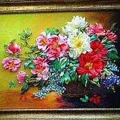 Картины и панно ручной работы. Ярмарка Мастеров - ручная работа картина лентами пионы в корзине. Handmade.
