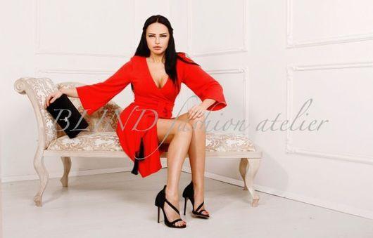 Платья ручной работы. Ярмарка Мастеров - ручная работа. Купить Платье из трикотажа 00208. Handmade. Ярко-красный, платье, blind