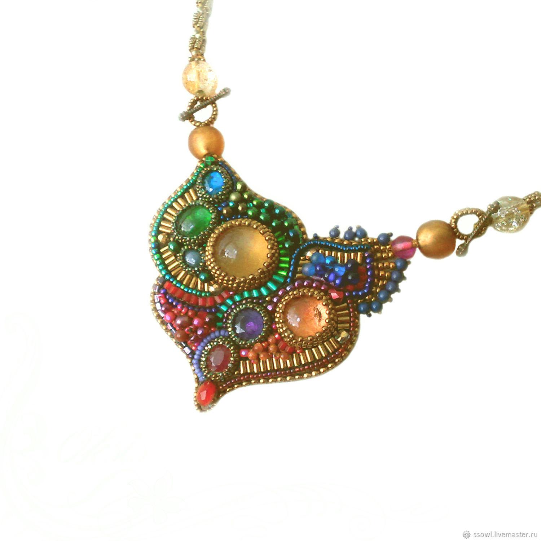 Necklace Rainbow heart Citrine, aquamarine, amethyst, ruby, Gifts for March 8, Bryansk,  Фото №1