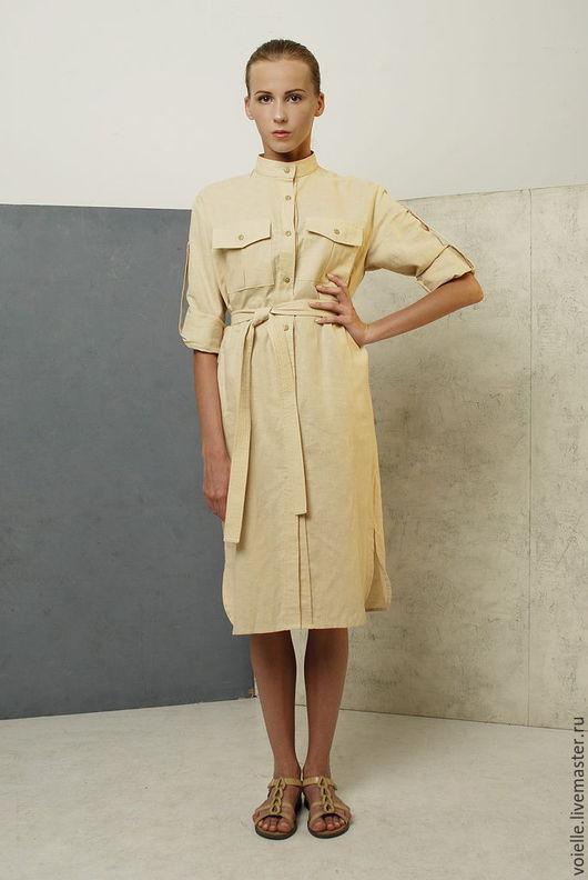 Платье рубашка в стиле сафари бежевое из льна и хлопка, удобное, практичное, платье повседневное, на каждый день