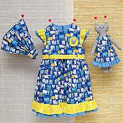 Работы для детей, ручной работы. Ярмарка Мастеров - ручная работа Летнее синее платье для девочки и кошка. Handmade.