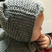 Мягкие игрушки ручной работы. Ярмарка Мастеров - ручная работа Теплая мягкая детская шапочка с ушками и козырьком для мальчика. Handmade.