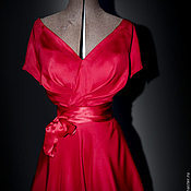 Одежда handmade. Livemaster - original item vintage silk dress with a fluffy skirt of
