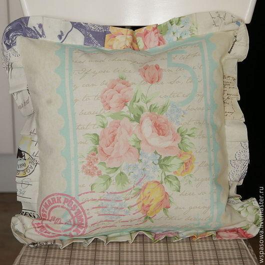 Текстиль, ковры ручной работы. Ярмарка Мастеров - ручная работа. Купить Льняная подушка с оборками Туманное письмо. Handmade.