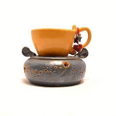 """Посуда ручной работы. Ярмарка Мастеров - ручная работа """"Небо."""" Горелка и чашка керамические.. Handmade."""