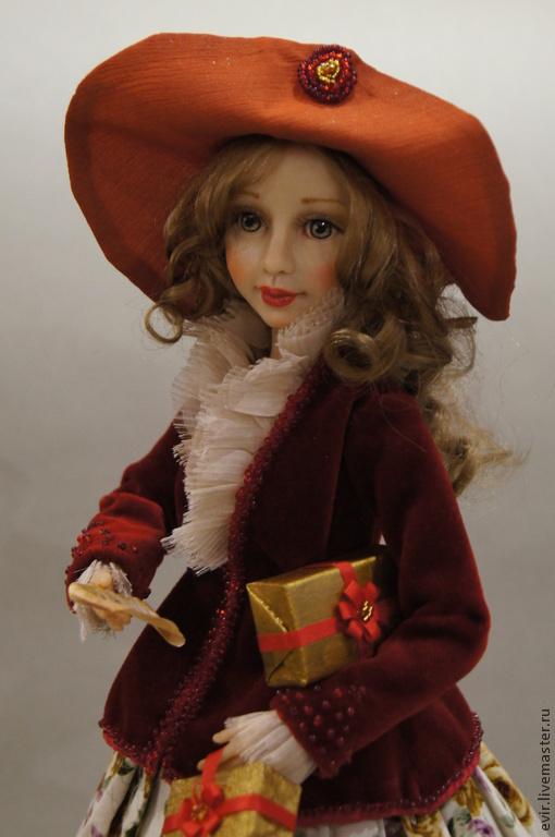 Коллекционные куклы ручной работы. Ярмарка Мастеров - ручная работа. Купить Как бы мне всё успеть. Handmade. Бордовый, бархат