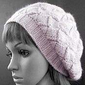 Аксессуары handmade. Livemaster - original item Knitted hat-beret in the art entrelac from down mink. Handmade.