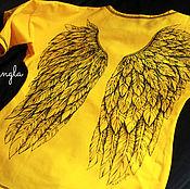 Одежда ручной работы. Ярмарка Мастеров - ручная работа Рисунок крыльев на футболке. Handmade.
