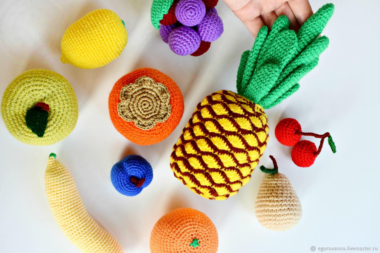 Набор вязаных фруктов (10 штук), Кукольная еда, Москва,  Фото №1
