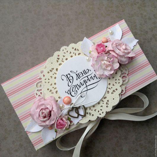 Подарки на свадьбу ручной работы. Ярмарка Мастеров - ручная работа. Купить Коробочка купюрница. Handmade. Розовый, подарочная упаковка, шоколадница